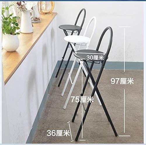 Zcm Chaises Pliantes Chaise Pliante Bar Chaise Tabouret Maison Dossier Simple Chaise épaississement Portable Fauteuil de Salon for Adultes (Color : Black)