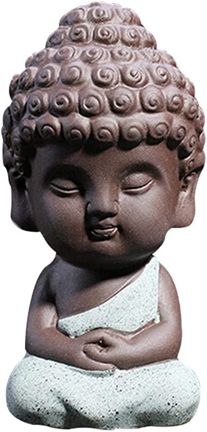 4x Cute Small Buddha Statue Monk Figurines Home Office Desktop Decoration