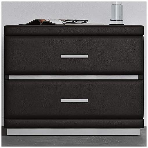 Bedroom Zuri Modern Black Leatherette Upholstered Henley Accent Table with 2 Soft Close Drawers modern bedroom furniture
