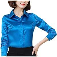 KLJR Women's Wear to Work Long Sleeve blouse Slim Fit Tops Silk Satin Shirt
