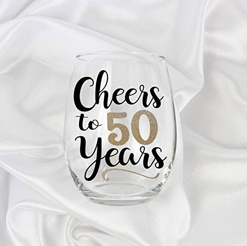 Cheers to 50 years stemless wine glass, 50th birthday gift for her women 032 by Zoey Christina