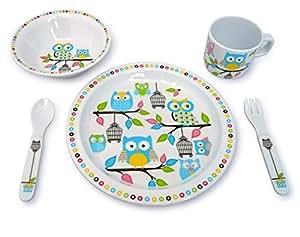 Culina Kids Melamine Dinnerware - Owl. Set of 5