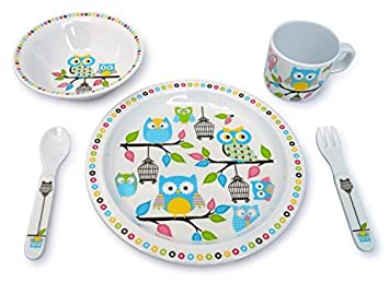 Culina Kids Melamine Dinnerware - Owl. Set of 5  sc 1 st  Amazon.com & Amazon.com: Culina Kids Melamine Dinnerware - Owl. Set of 5: Baby