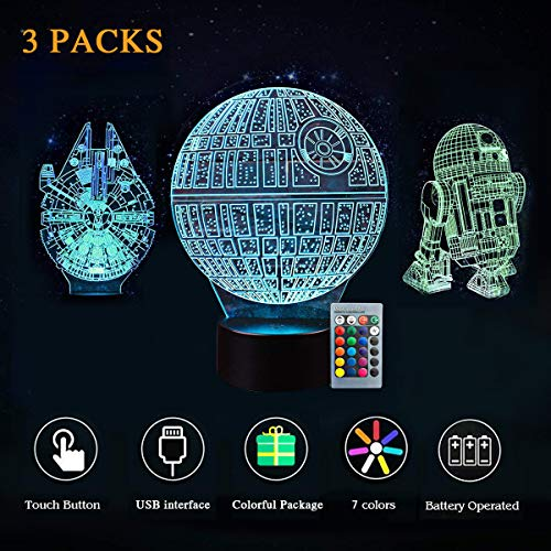 Millennium Phone - 3D LED Star Wars Night Light - Kids' Gifts, 3 Styles, Millennium Falcon/Death Star / R2D2, 7 Light Modes, USB or 3 AA Batteries