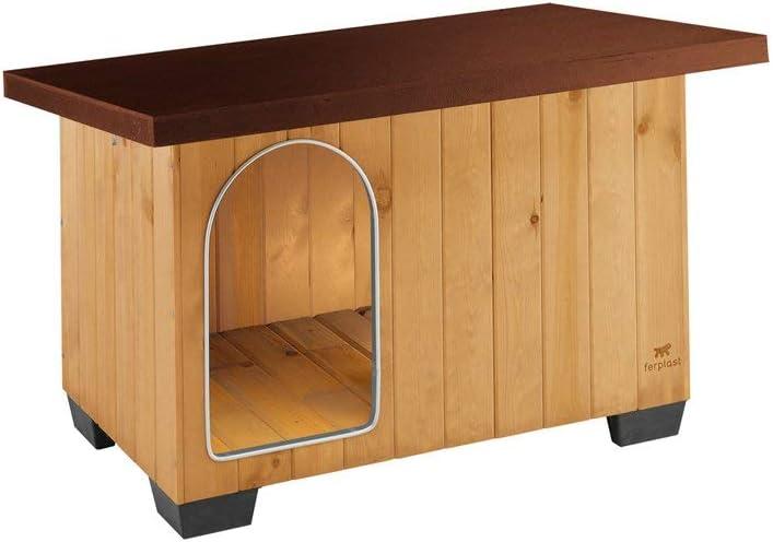 Ferplast Caseta de exterior para perros BAITA 80, Madera ecosostenible, Pies aislantes, Puerta con perfil de aluminio resistente a las mordeduras, Techo abrible, 102 x 70 x h 65,5 cm