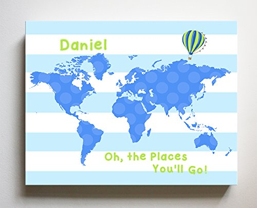 Dr Seuss, Personalized Canvas Nursery Striped World Map, Customized Baby Name Wall Art Decor, Unique Educational Painting, Memorable Boys & Girls Gift, Giclee Print Stretched on 100% Wood Frame 16X20