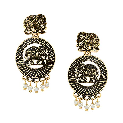 Bodha 18K Antique Gold Plated Oxidised Elephant Jhumka Earring with Pearl Hanging for Women (SJ_1458) ()