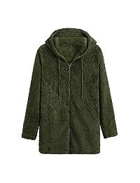 WOCACHI Womens Faux Coats Jackets Fuzzy Fleece Hooded Zipper Solid Outwear