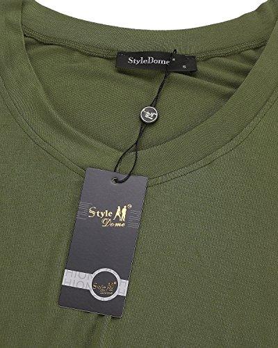 Donne Casuali Mini Solidi Styledome Militare Più V Cime Pianura Maniche Tasca Corto Veste Allentata Collo Lunga Camicia Dimensioni Il Verde Abiti rrZnBxw
