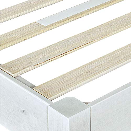 MUSEHOMEINC Wood Platform Bed Frame Rustic Style,Mattress Foundation(no boxspring Needed), White Washed Finish,Queen