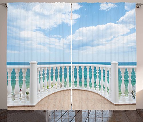 """Ambesonne White Curtains, Ocean Sea Shoreline Sunny Day Balcony Clouds Clear Sky Image, Living Room Bedroom Window Drapes 2 Panel Set, 108"""" X 84"""", Brown Sky"""