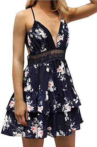 Floral Print Dress Women Lace Crochet Sleeveless Ruffle High Waisted Swing Summer Beach Short Dress Size S (US 0-2) (Blue)