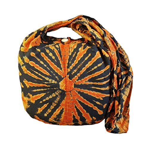 BTP! Tie Dye Sling Crossbody Shoulder Bag Purse Hippie Hobo Cotton Bohemian Colorful Firework (Red VJ5)