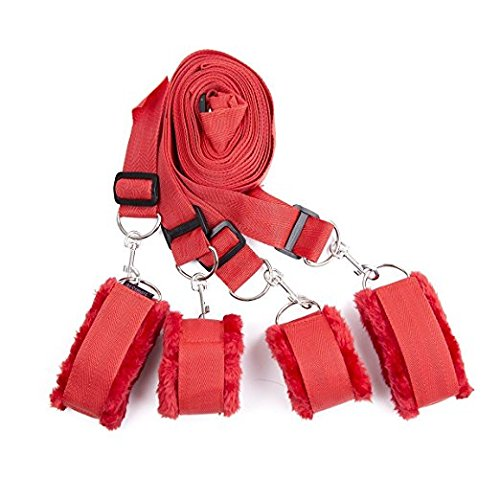 Price comparison product image Restraint system kit medical grade velcro adjustable soft wrist and ankle cuffs (Red)
