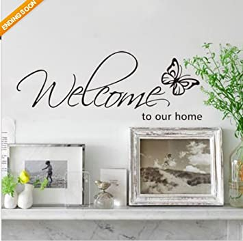 DIY Welcome To Our Home Removable Art Vinyl Decal Wall Stickers - How to make vinyl decals for walls