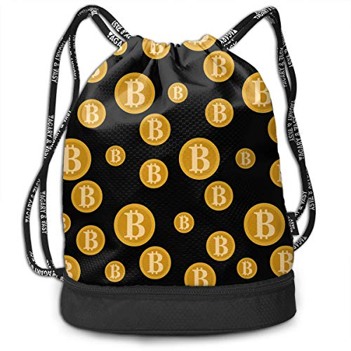 Zhangyi Funny Golden Original Bitcoin Drawstring Backpack Sports Gym Cinch Sack Bag for Gym Hiking Travel Beach Sackpack Dance Bag -