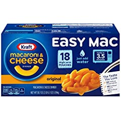 Kraft Easy Mac Original Flavor Single Serve Pouches are an easy dinner that's ready in 3-1/2 minutes. Kids and adults love the rich taste and creamy texture of macaroni noodles with cheesy goodness. Easy macaroni and cheese pouches include pa...