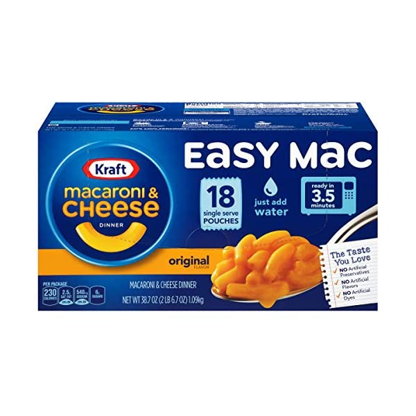 KRAFT Easy Mac Macaroni & Cheese, Single Serving Pouches Ready in 3.5 Minutes Just Add Water No Artificial Preservatives, No Artificial Dyes & No Artificial Flavors