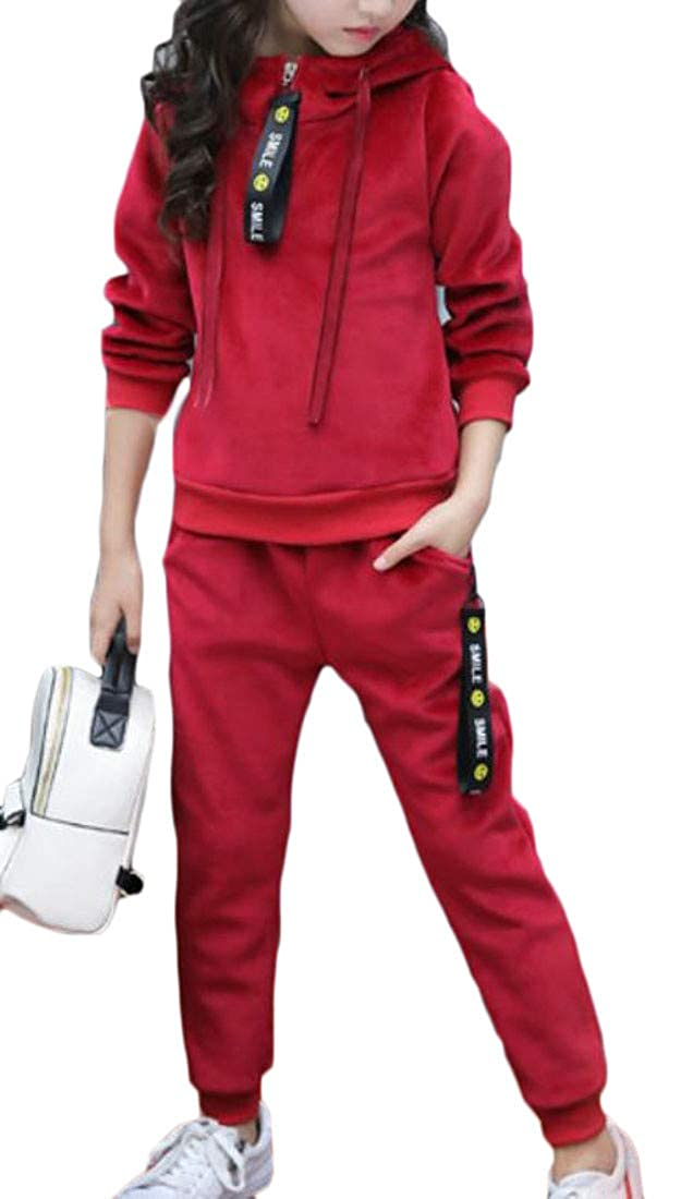 XiaoTianXinChildrenscostumes XTX Girl's Sweatshirt and Pants 2 Piece Winter Velour Hooded Sweatsuit Set