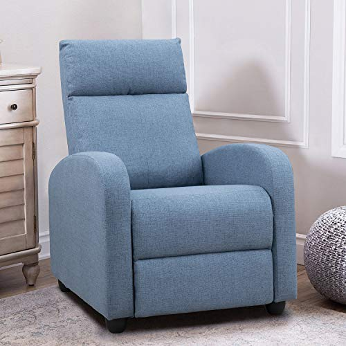 JUMMICO Fabric Recliner Chair Adjustable Home Theater Single Recliner Sofa Furniture with Thick Seat Cushion and Backrest Modern Living Room Recliners (Light-Blue)