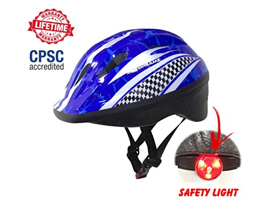 KIDS Bike Helmet – Adjustable from Toddler to Youth Size, Ages 3 To 7 - Durable Kid Bicycle Helmets with Fun Racing Design Boys and Girls will LOVE - CSPC Certified for Safety and Comfort (CPSC Blue) (Red Lacrosse Helmet Accessories)