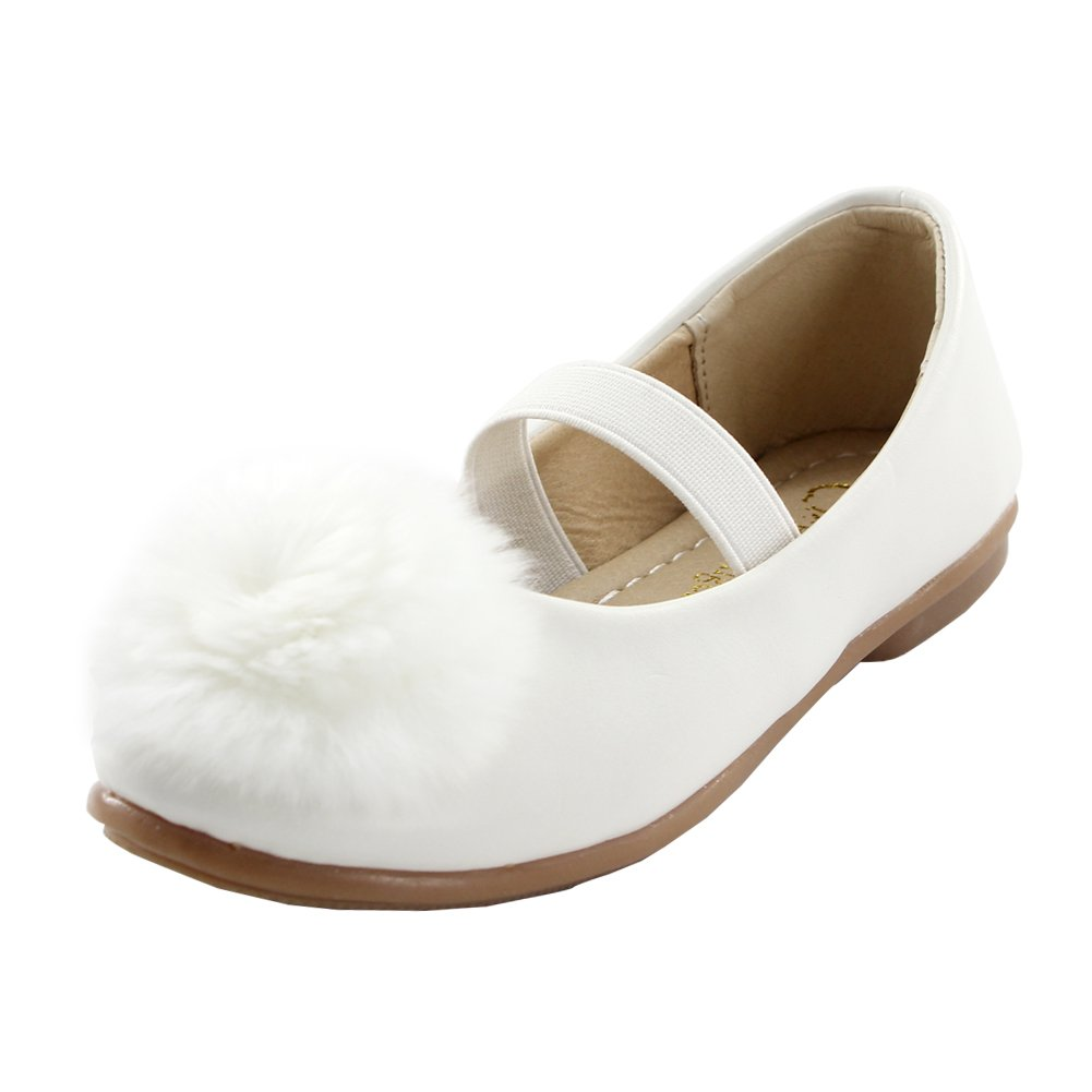 Maxu Leather School Flat Fashion Party Shoe for Girl,White,Big Kid,4M