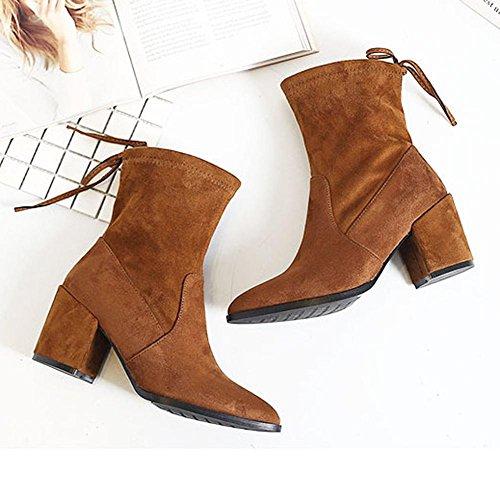 wdjjjnnnv Women Short Boots Leather Lacing High Heels Thicker Plush Warm Ankle Shoes BROWN-36 sg2hZGAQ