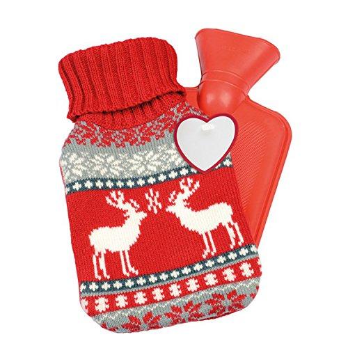Bouillotte 595ml avec motif Noël caoutchouc Bouillotte Cuddle Lit Bouteille