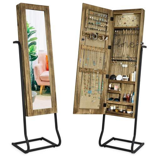 Alsonerbay Jewelry Armoire with Full Length Mirror, Jewelry Cabinet, Standing Jewelry Storage, Jewelry Organizer with Light(Carbonized Black)