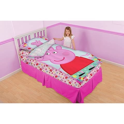 Peppa Pig Kids 3 Piece Play-Zip-It Bedding Toddler Girls Twin Size Set with Pillowcase (Peppa Pig George Boots)