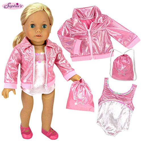 Sophias Doll Clothing for 18 Inch Doll Gymnastics 3 Pc. Set Fits 18 Inch American Girl Doll Clothes & More! Pink Leotard, Jacket & Gym Bag in Pink