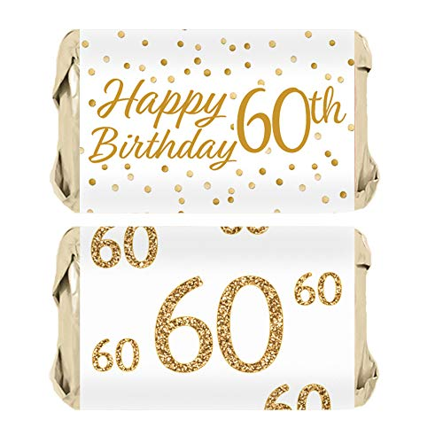 60th Birthday Party Miniatures Candy Bar Wrapper Stickers - White and Gold | 45 Count