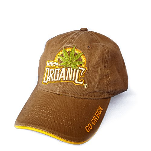100-Organic-Marijuana-Leaf-Weed-MJ-Baseball-Cap-Hat-One-Size-Tan-One-Size-Tan