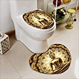 Printed Bath Heart shaped foot pad Set thai golden buddha on oriental gold ornament texture background Toilet cushion suit