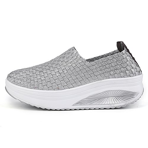 EnllerviiD Women Multicolor Braid Fashion Sneakers Casual Slip-On Platform Weave Shoes 908 Silver 68hgZ3Ia