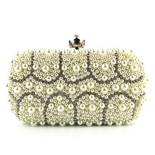 (Gogoodgo Womens Clutch Luxury Purse Evening Bags Full Beaded Artificial Pearls Handbag for Wedding Parites Prom)