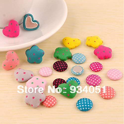 (Maslin Set of 100pcs Assorted Star/Heart/Round Shaped Polka Dot Fabric Cover Button Combined Buttons for Baby Clothes)