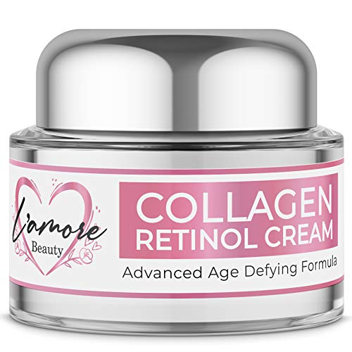 L'amore Beauty Collagen Retinol Cream (30mL) Anti-Aging Day and Night Facial | Age Defying Skincare Firms and Lifts Wrinkles, Fine Lines | Hydrating Face, Neck, Décolleté - Face Lift Anti Moisturizer Wrinkle