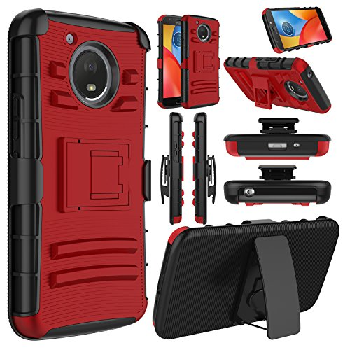 Moto E4 Plus Case, Elegant Choise Hybrid Holster Heavy Duty Shockproof Combo Rugged Full-Body Protective Case Cover with Kickstand and Swivel Belt Clip for Motorola Moto E4 Plus (Red/Black)