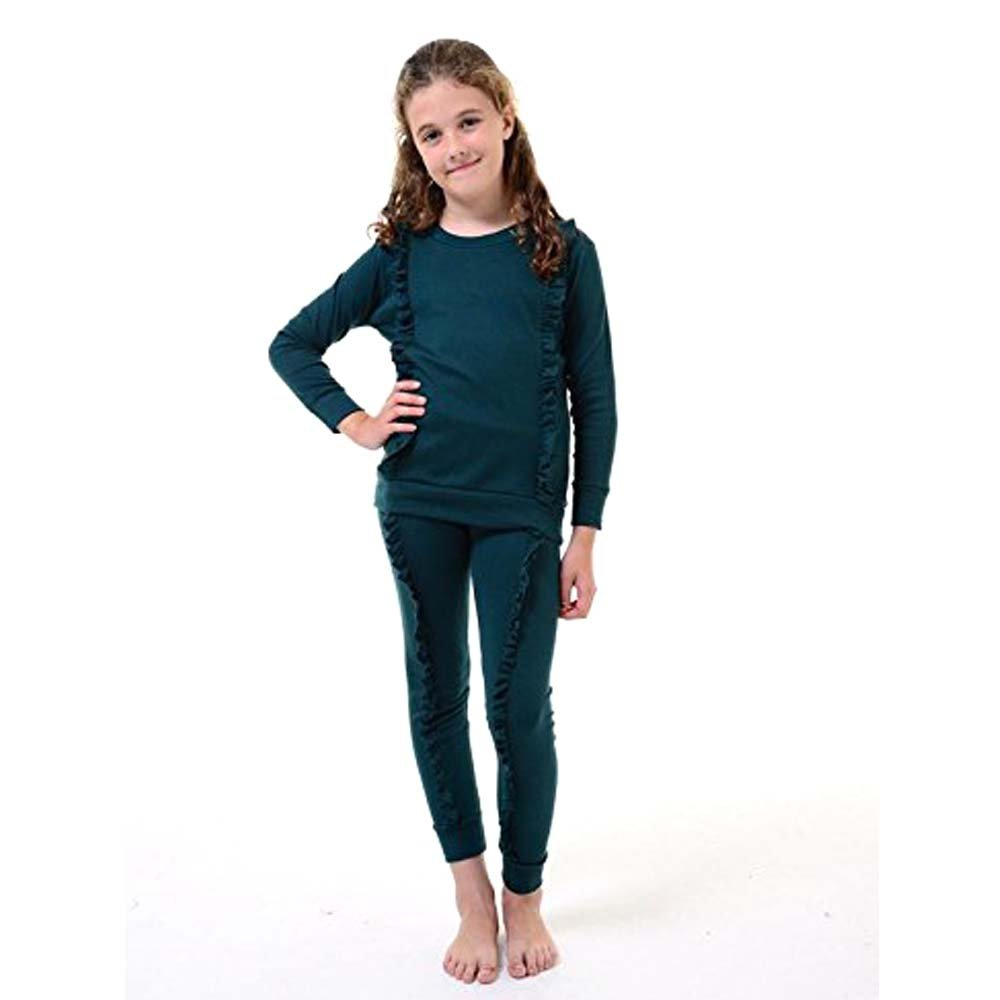KIDS GIRLS TRACKSUIT DOUBLE FRILL DETAIL TOP /& BOTTOM LOUNGE WEAR LOUNGE SUIT