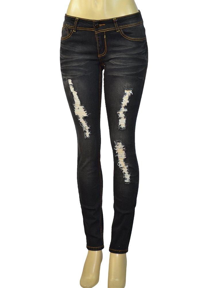 LnLClothing Juniors Distressed 5 Pocket Stretch Skinny Jeans, Black, 3/4