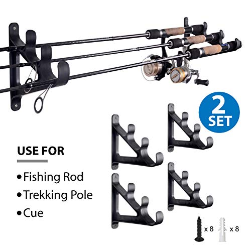 Horizontal Rod Rack for Fishing Rod Wall Rack Storage-Ultra Sturdy Strong Weatherproof Holds 3 Rods- Space Saving for Fishing Rods,Hiking Poles, Ski Poles, Hockey Sticks and Cue,2 Set ...
