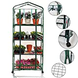Portable 4-Tier Shelves Mini Greenhouse w/ Removable Wheels Warm Commercial PVC Cover Indoor Outdoor Clear Greenhouse Plant Flower Grow Tent Double Zipper Roll Up Front 27 in. L x 19 in. W x 63 in. H