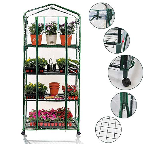 Portable 4-Tier Shelves Mini Greenhouse w/ Removable Wheels Warm Commercial PVC Cover Indoor Outdoor Clear Greenhouse Plant Flower Grow Tent Double Zipper Roll Up Front 27 in. L x 19 in. W x 63 in. H by Homes Garden (Image #7)