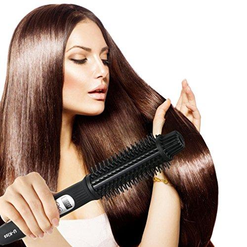 Plancha de Pelo,U-Kiss 2 en 1 Rizador de Pelo, Cepillo alisador de pelo con LED Pantalla: Amazon.es: Belleza