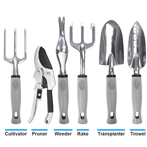 Garden Tool Set 9 Piece- Includes Garden Tote, Spray Bottle, Work Gloves and 6 Heavy Duty Stainless Steel Hand Tools by WayWay Life (Image #1)