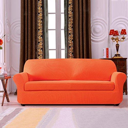 Subrtex 2-Piece Spandex Stretch Sofa Slipcover (Sofa, Orange)