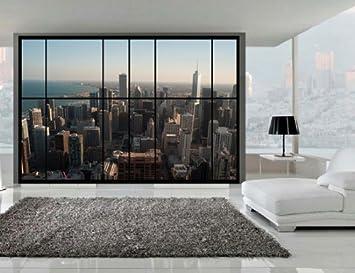 Fototapete fenster aussicht  AWM2 - Großes Apartment-Stil Fenster, Wand, Aussicht von Chicago ...