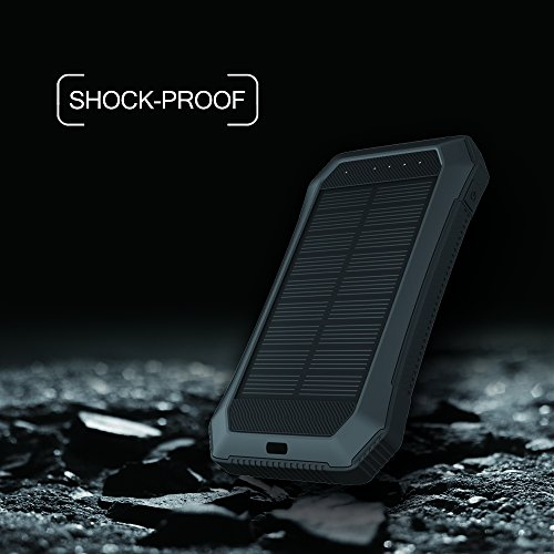 Solar Charger with Strong LED Flashlight, 10000mAh Solar Phone Charger with Dual USB Port, Outdoor Portable Solar Power Bank Built-in Strong 52LED Flashlight for Camping, Travelling & other Activities by URWILL (Image #4)