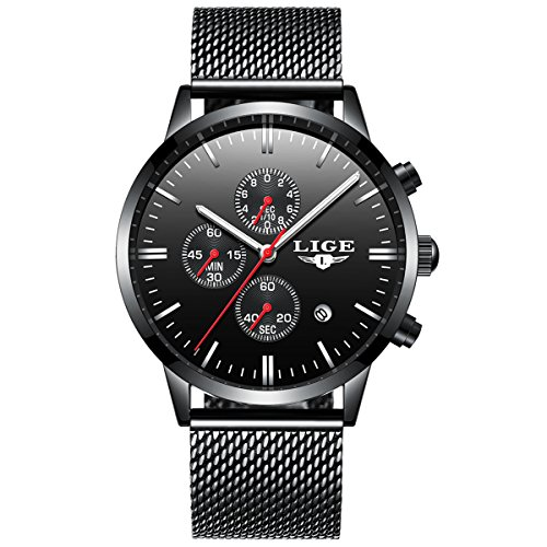 Watches Men's Black Luxury Steel Thin Wrist Watches Waterproof Unique Fashion Chronograph Men - Chronograph Elegance